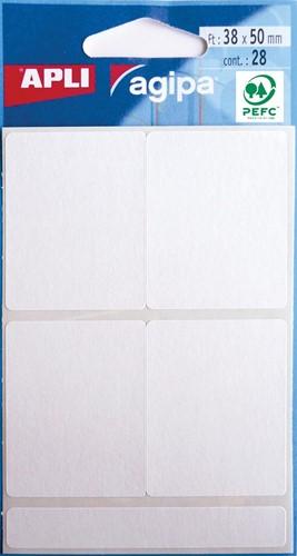 Agipa witte etiketten in etui ft 38 x 50 mm (b x h), 28 stuks, 4 per blad
