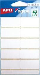 Agipa witte etiketten in etui ft 19 x 38 mm (b x h), 70 stuks, 10 per blad