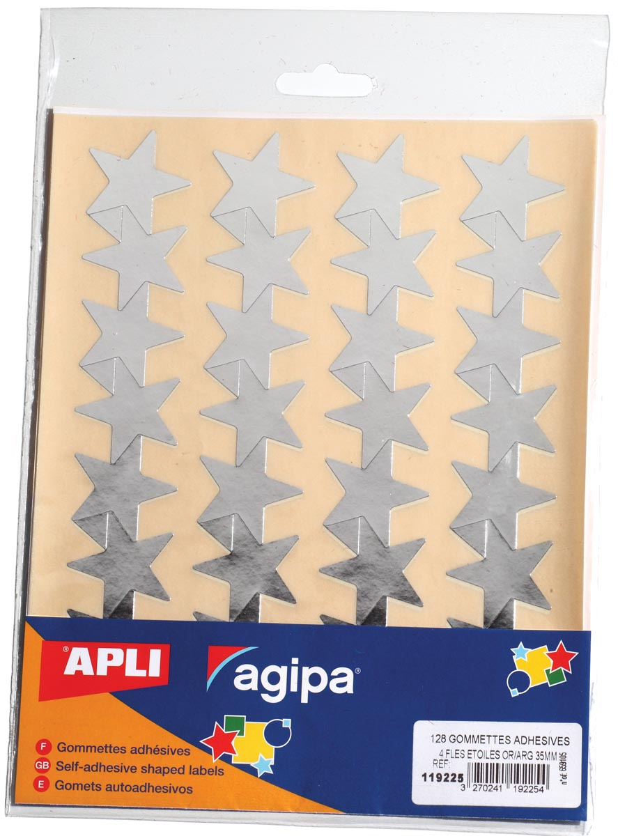Agipa metallic stickers, blister met 128 stuks, goud en zilver, ster 35 mm