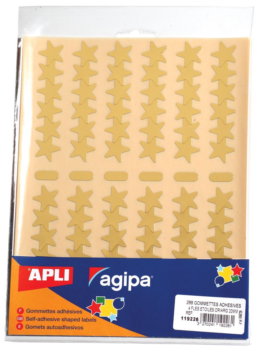 Agipa metallic stickers, blister met 288 stuks, goud en zilver, ster 20 mm