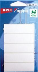 Agipa witte etiketten in etui ft 19 x 62 mm (b x h), 35 stuks, 5 per blad