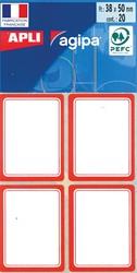Agipa schooletiketten ft 38 x 50 mm (b x h), 32 etiketten per etui, rode rand