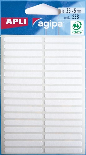 Agipa witte etiketten in etui ft 5 x 35 mm (b x h), 238 stuks, 34 per blad