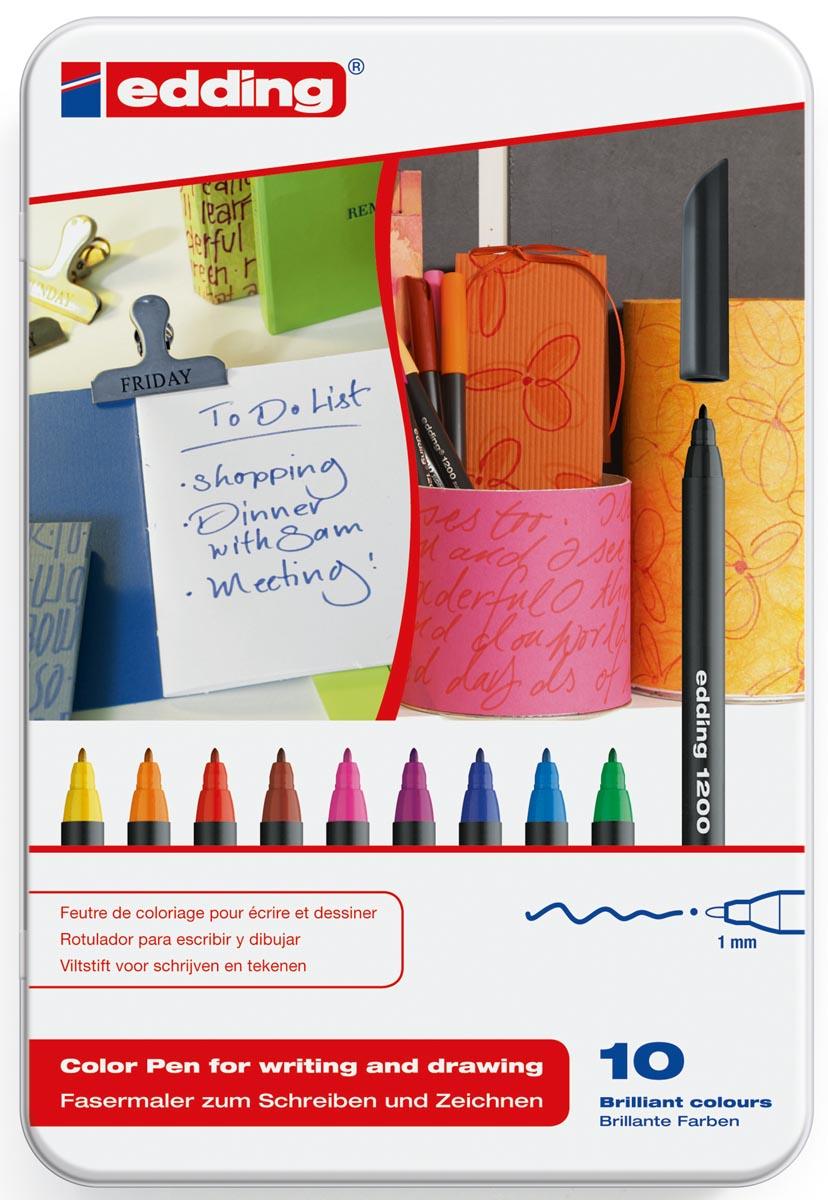 Edding viltstift e-1200 10 stiften in geassorteerde kleuren in een metalen doos