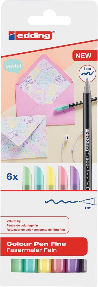 Edding viltstift e-1200, kartonnen etui met 6 stiften in geassorteerde pastelkleuren