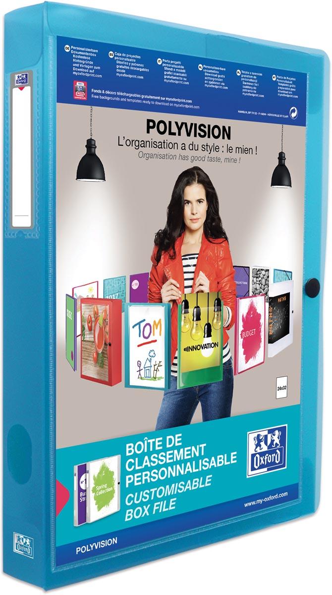 OXFORD Polyvision personaliseerbare elastobox, formaat A4, uit PP, rug van 4 cm, transparant blauw