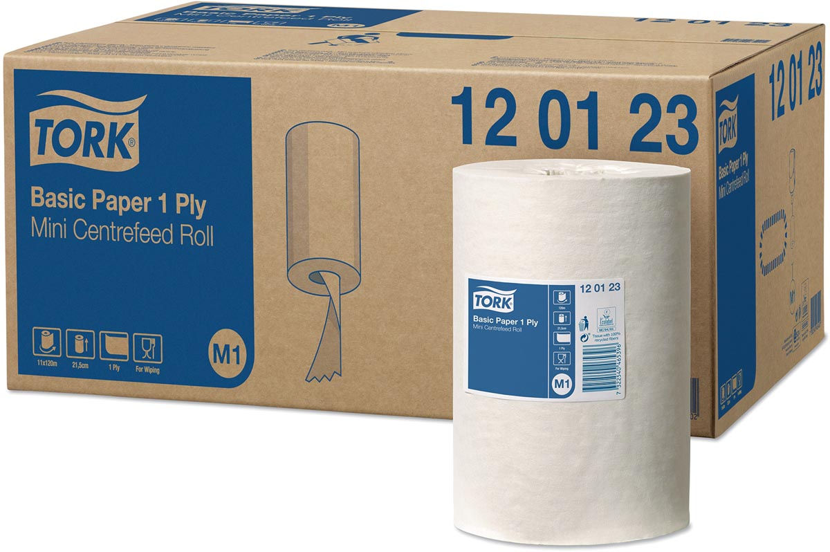 Tork Universal Basic Mini poetspapier, centerfeed, 1-laags, systeem M1, wit, doos van 11 rollen