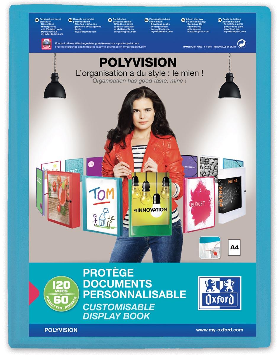 OXFORD Polyvision personaliseerbare presentatiealbum, formaat A4, uit PP, 60 tassen, blauw