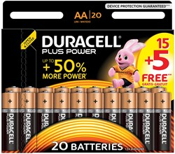 Duracell batterijen Plus Power AA, blister van 15+5 stuks