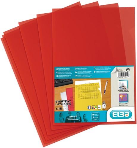 Elba L-map Shine, rood, pak van 10 stuks