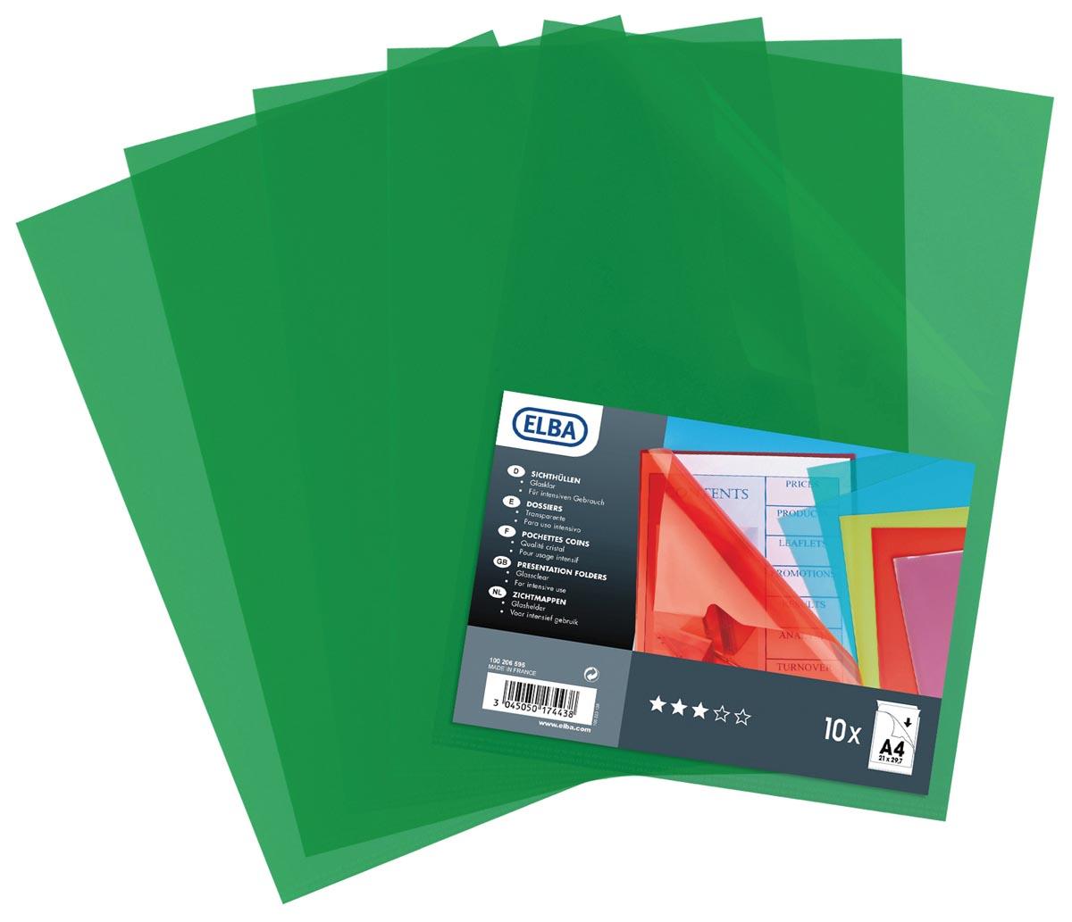 Elba L-map A4, PP, 120 micron, transparant groen, pak van 10 stuks