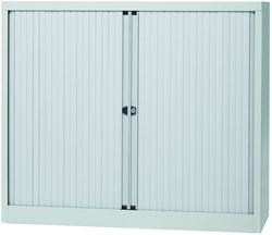 Bisley roldeurkast, ft 103 x 120 x 43 cm (h x b x d), 2 legborden, lichtgrijs