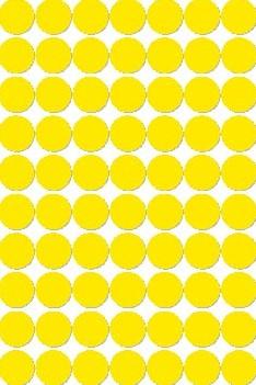 Apli ronde etiketten in etui diameter 19 mm, geel, 560 stuks, 70 per blad