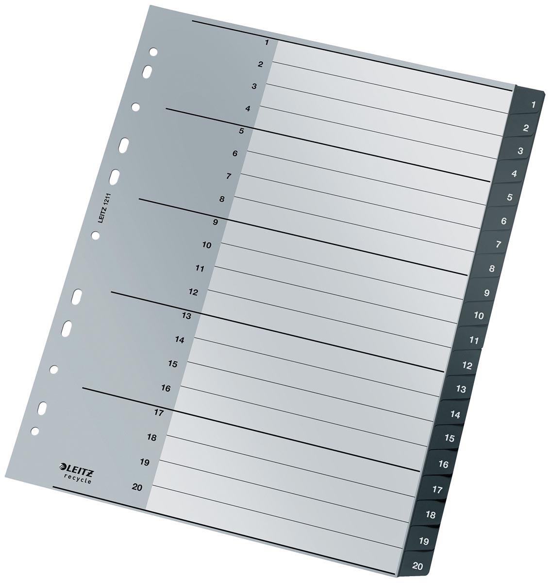 Leitz Recycle tabbladen, ft A4, 11-gaatsperforatie, PP, zwart, 1-20