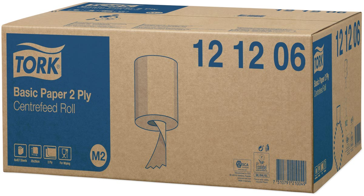 Tork poetspapier Centerfeed, 2-laags, systeem M2, pak van 6 rollen