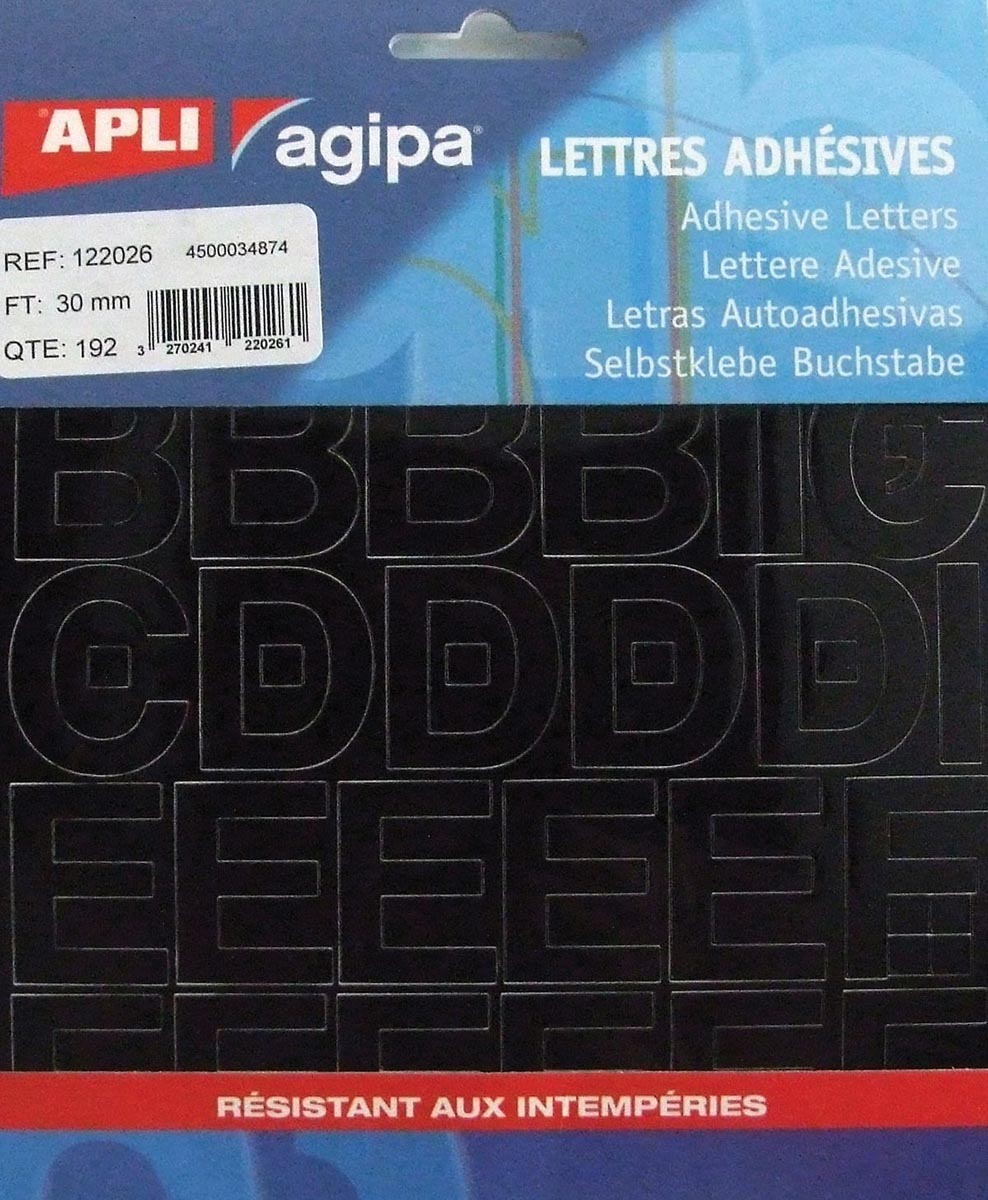 Agipa etiketten cijfers en letters letterhoogte 30 mm, 192 letters
