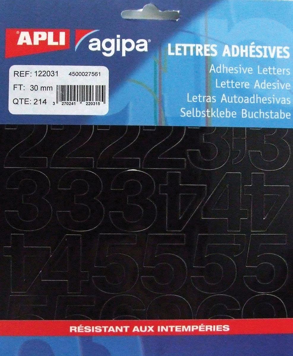 Agipa etiketten cijfers en letters letterhoogte 30 mm, 214 cijfers