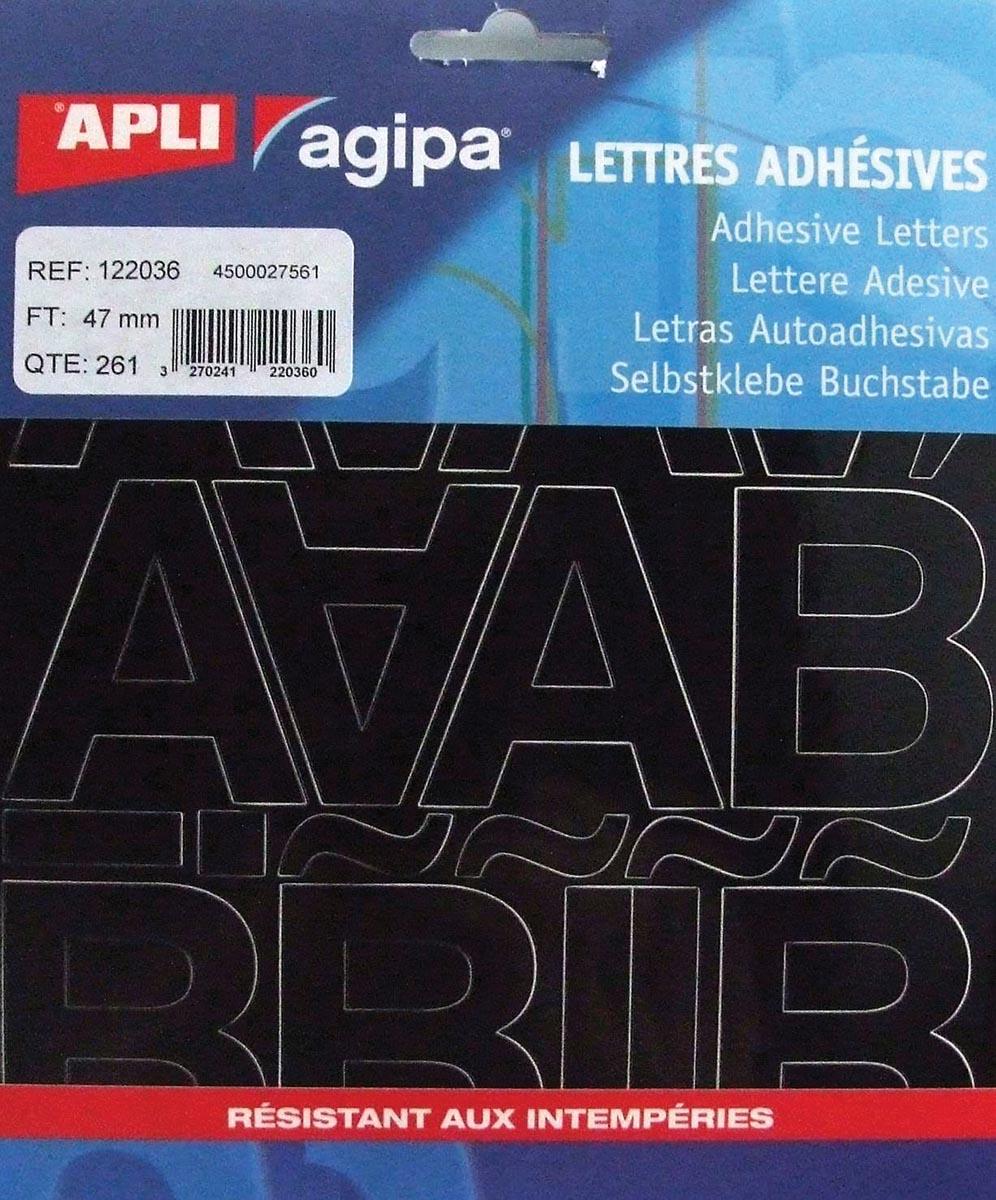 Agipa etiketten cijfers en letters letterhoogte 47 mm, 261 letters