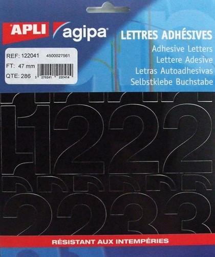 Agipa etiketten cijfers en letters letterhoogte 47 mm, 286 cijfers