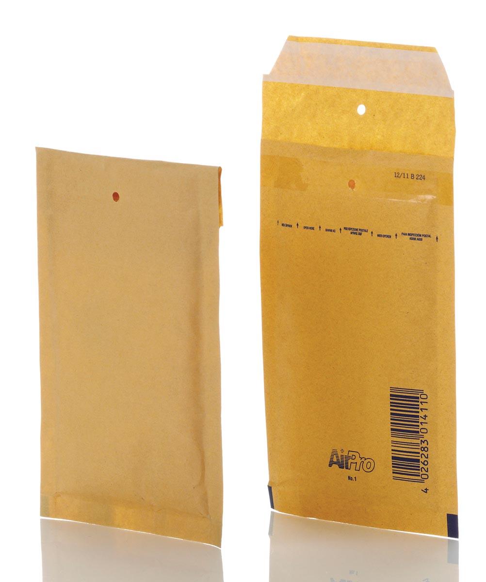 Bong AirPro luchtkussenenveloppen, ft 100 x 165 mm, met stripsluiting, doos van 200 stuks, bruin