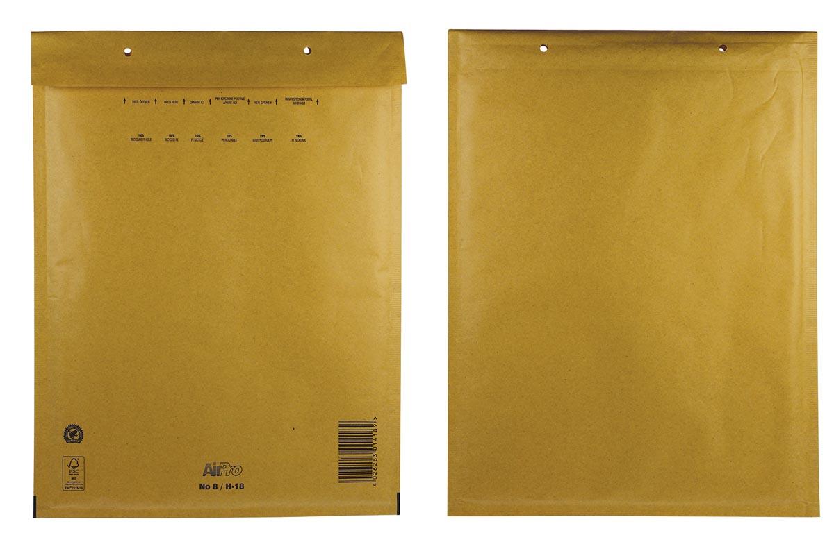 Luchtkussenenveloppen Ft 270 x 360 mm met stripsluiting, bruin, doos van 100 stuks