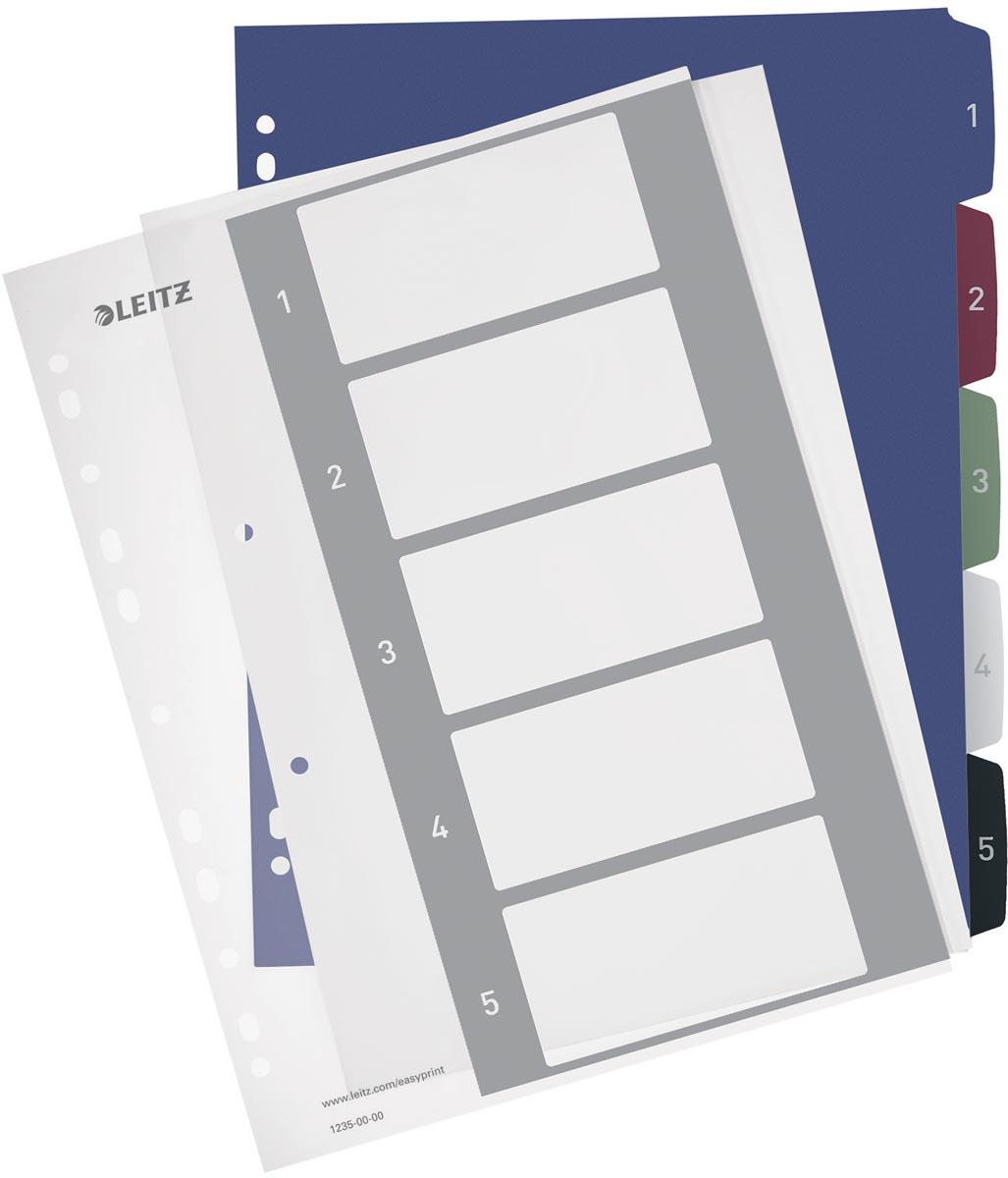 Leitz personaliseerbare tabbladen, 11-gaatsperforatie, 1-5 tabs
