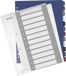 Leitz personaliseerbare tabbladen, 11-gaatsperforatie,1-12 tabs
