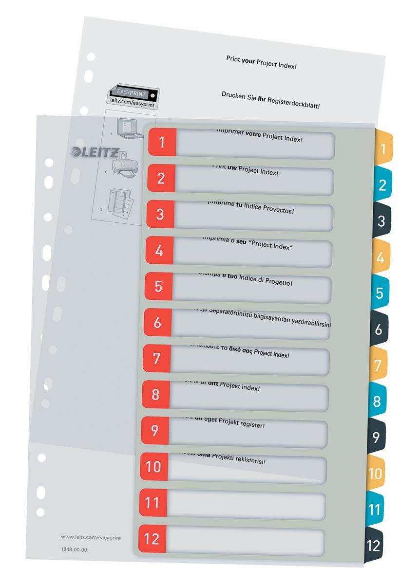 Leitz Cosy tabbladen, ft A4, 11-gaatsperforatie, PP, geassorteerde kleuren, set 1-12