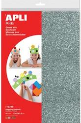 Apli Kids schuimrubber ft A4, pak met 4 vellen in geassorteerde kleuren, met glitter structuur
