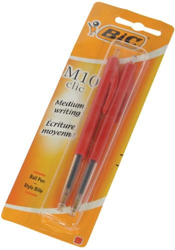 Bic balpen M10 Clic op blister, medium punt, rood