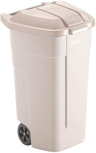 Rubbermaid mobiele afvalcontainer Basis, zonder deksel, 100 liter, wit