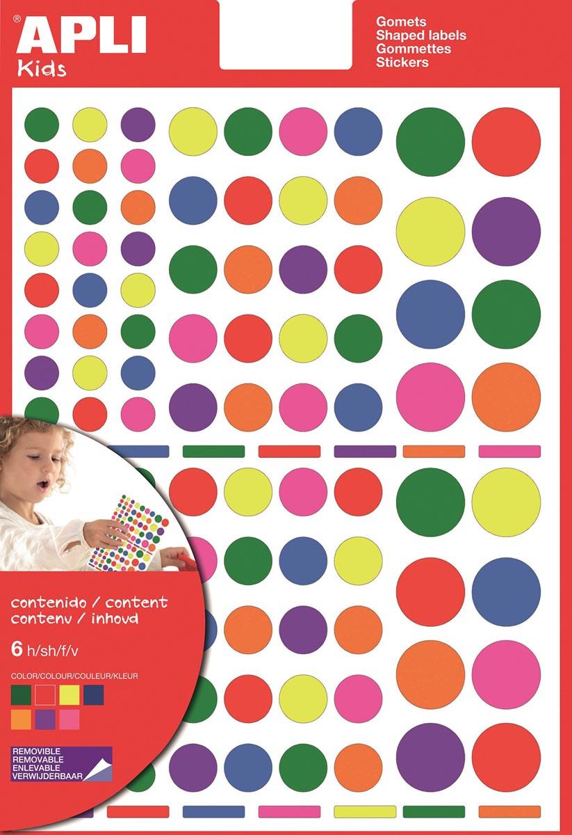 Apli Kids verwijderbare stickers, cirkel, blister met 624 stuks in geassorteerde kleuren en groottes