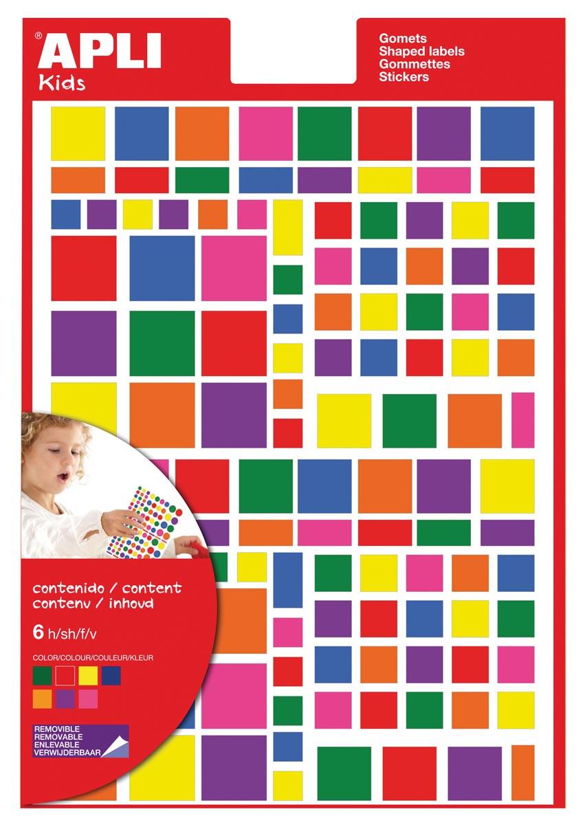 Apli Kids verwijderbare stickers, vierkant, blister met 756 stuks in geassorteerde kleuren en groott