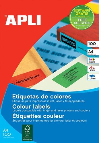 Apli Gekleurde etiketten ft 105 x 37 mm (b x h), blauw, 1.600 stuks, 16 per blad, doos van 100 blad