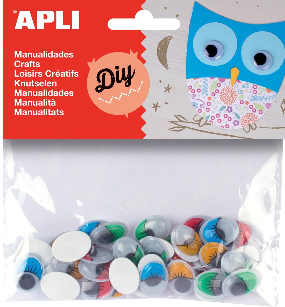 Apli zelfklevende knutselogen, ovaal, blister met 40 stuks in geassorteerde kleuren