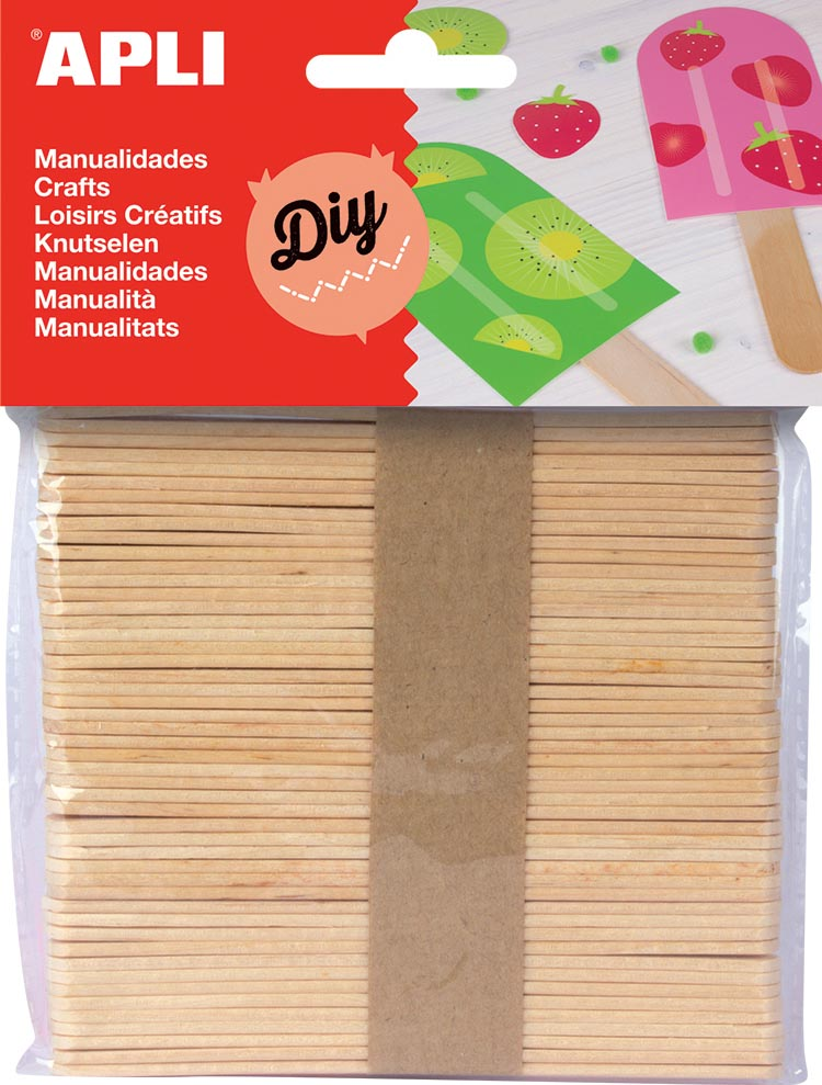 Apli houten sticks, blister met 50 stuks