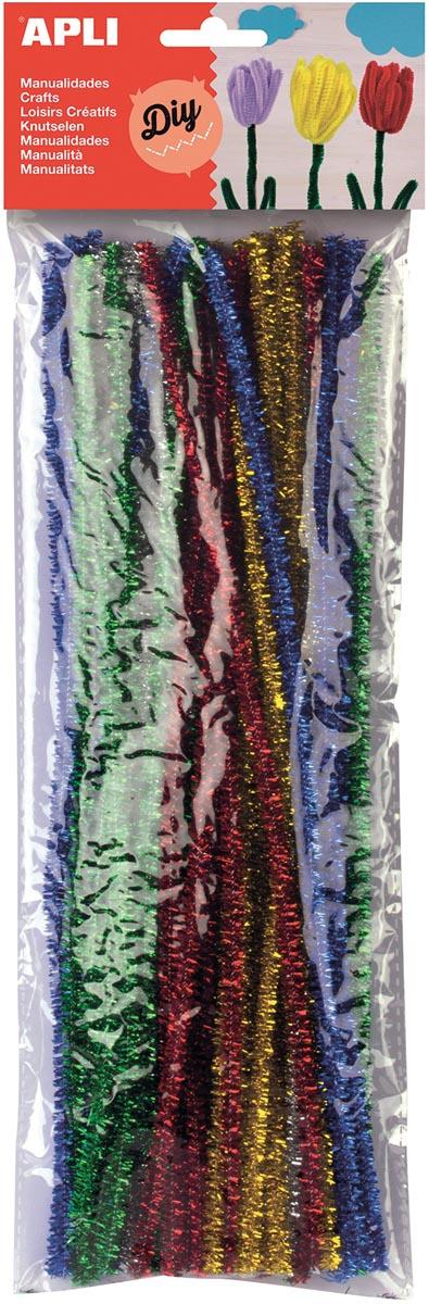 Apli chenilledraad, blister met 50 stuks in geassorteerde glossy kleuren