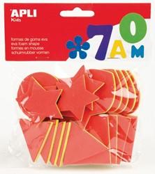 Apli Kids schuimrubber 3-laags geometrische vormen, blister met 25 stuks