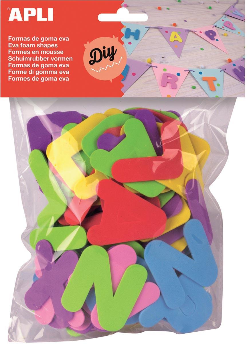 Apli Kids schuimrubber letters, blister met 104 stuks in geassorteerde kleuren