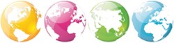 """Office Deco transfer L """"Colorful globes"""""""