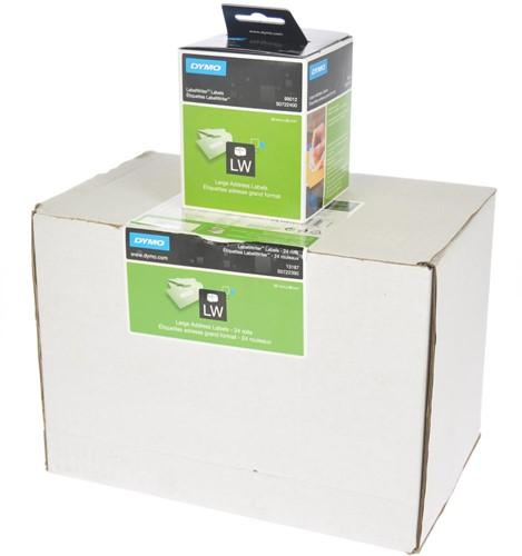 Dymo Value Pack: etiketten LabelWriter ft 89 x 36 mm, wit, doos van 24 x 260 etiketten