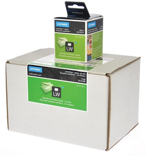 Dymo Value Pack: etiketten LabelWriter ft 89 x 28 mm, wit, doos van 24 x 130 etiketten