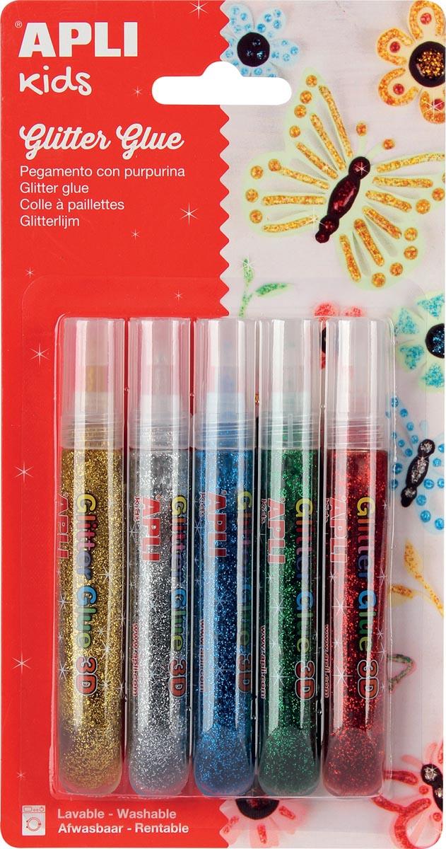 Apli Kids glitterlijm, blister met 5 tubes van 13 ml in geassorteerde metallic kleuren