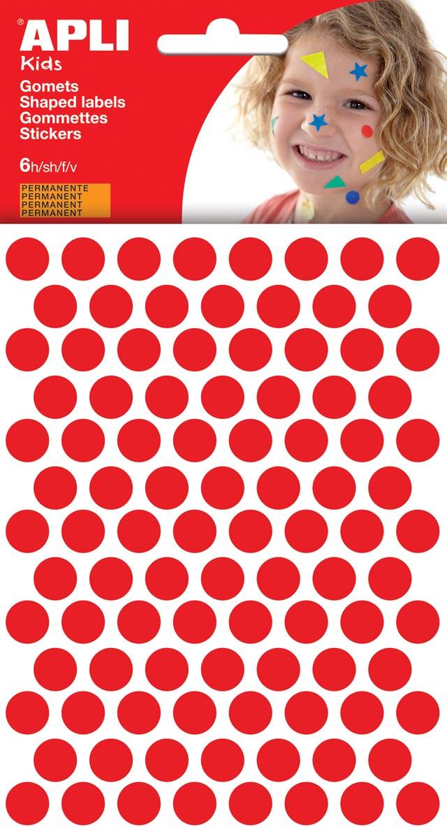 Apli Kids stickers, cirkel diameter 10,5 mm, blister met 528 stuks, rood