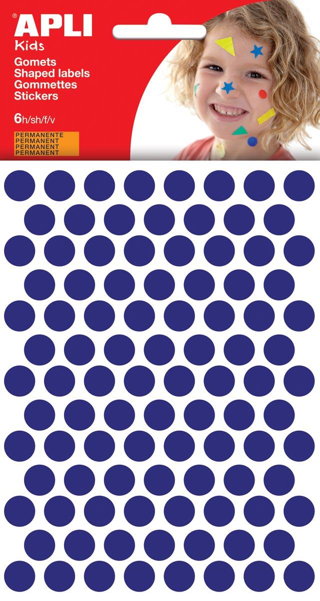 Apli Kids stickers, cirkel diameter 10,5 mm, blister met 528 stuks, blauw