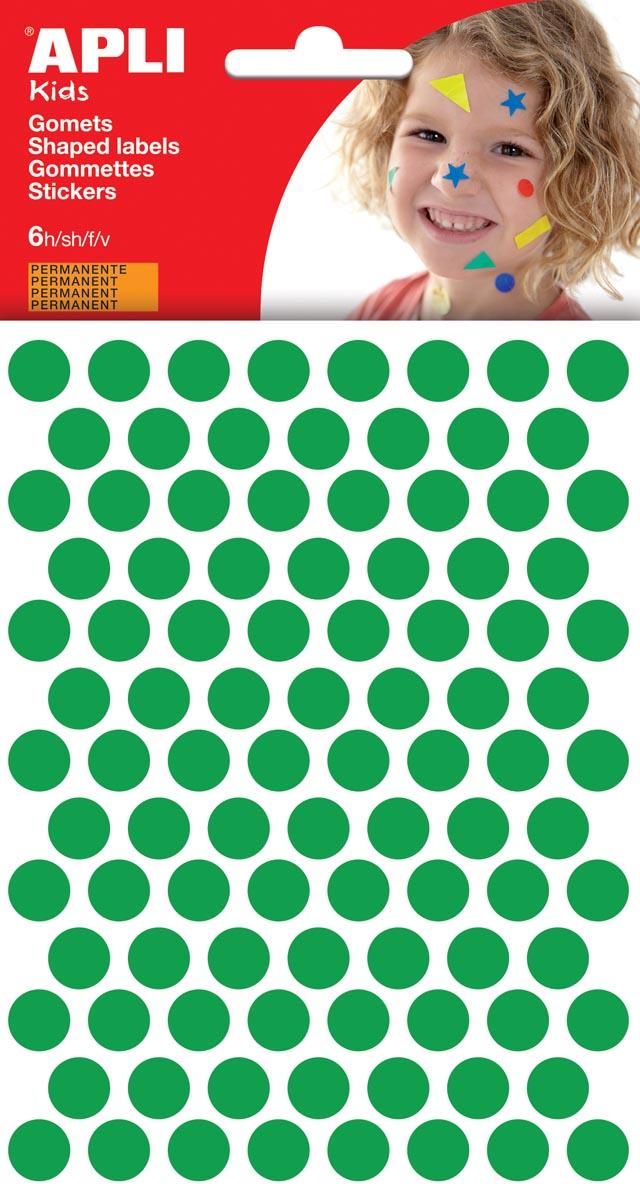 Apli Kids stickers, cirkel diameter 10,5 mm, blister met 528 stuks, groen
