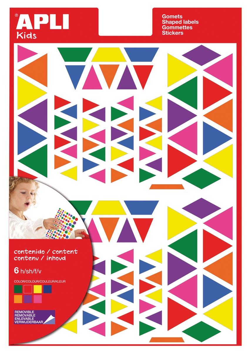 Apli Kids verwijderbare stickers, driehoek, blister met 720 stuks in geassorteerde kleuren en groott