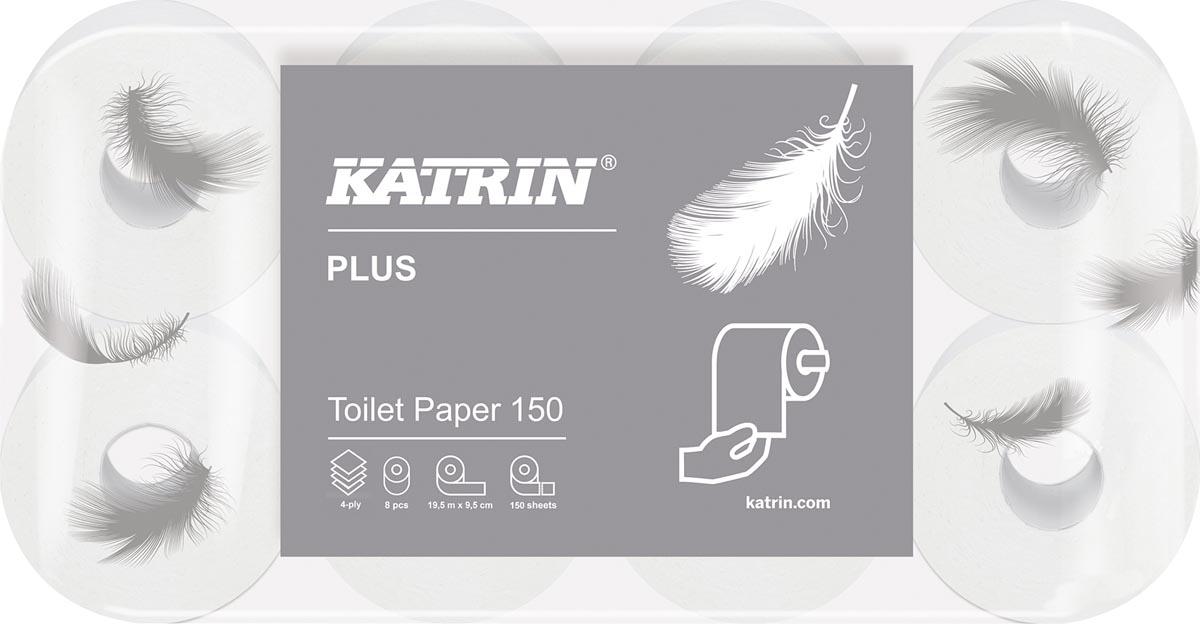 Katrin toiletpapier Plus, 4-laags, 150 vel per rol, pak van 8 rollen