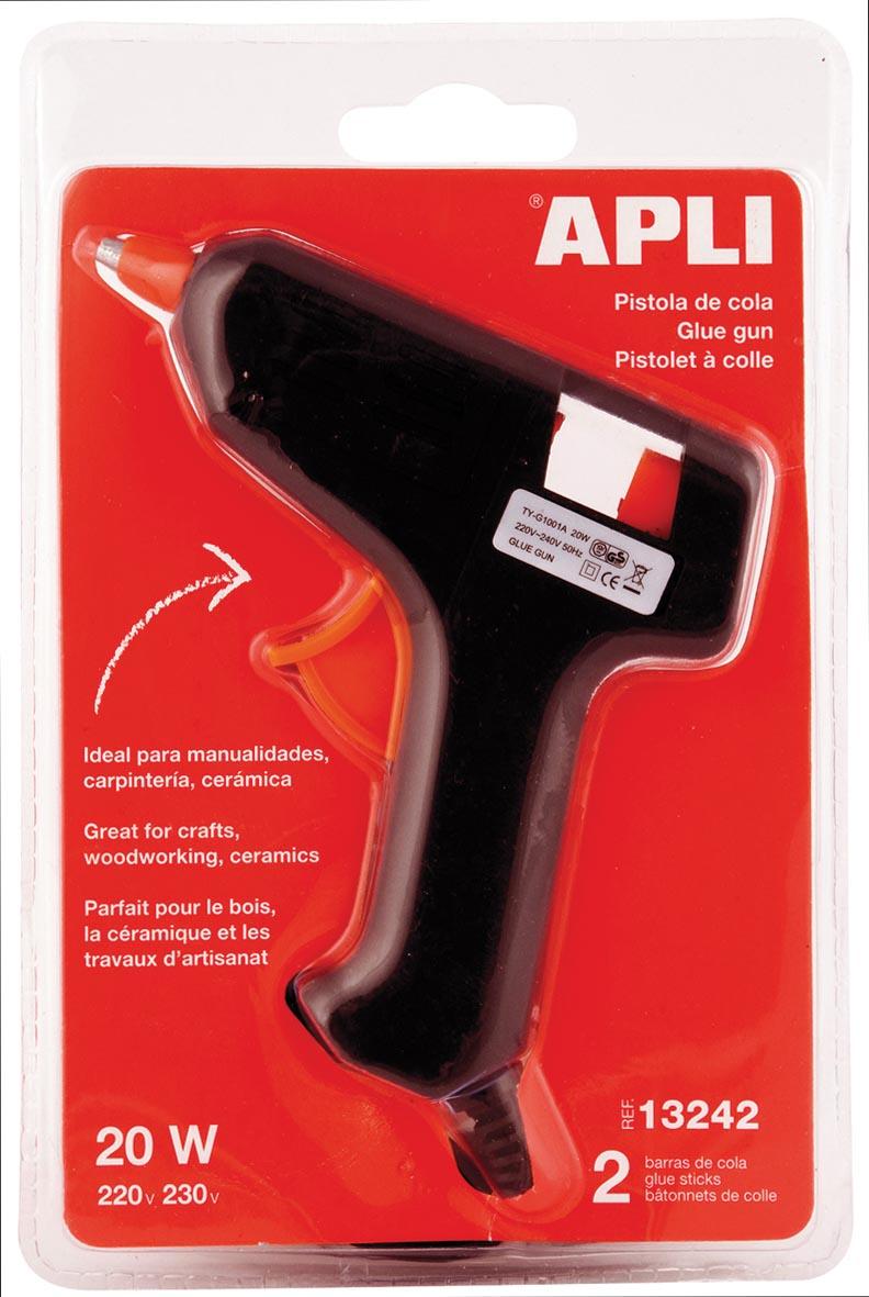Apli lijmpistool 20W, inclusief 2 lijmpatronen, op blister