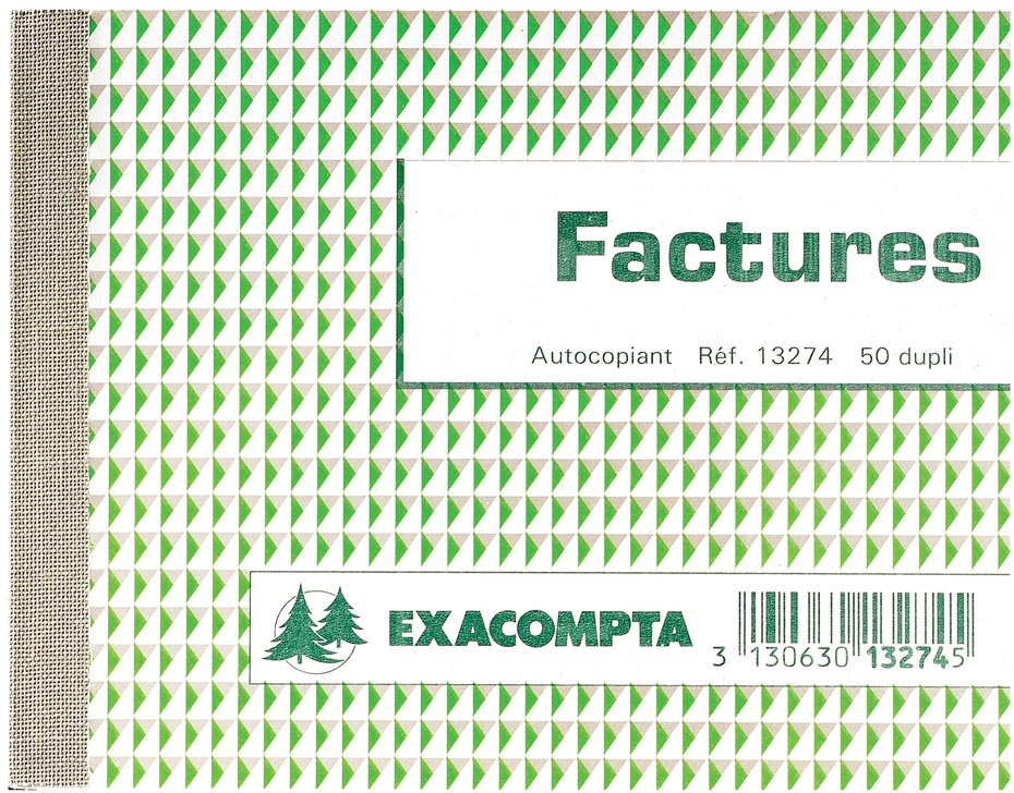 Exacompta doorschrijfboek facturen, ft 10,5 x 13,5 cm, zelfkopiërend, dupli